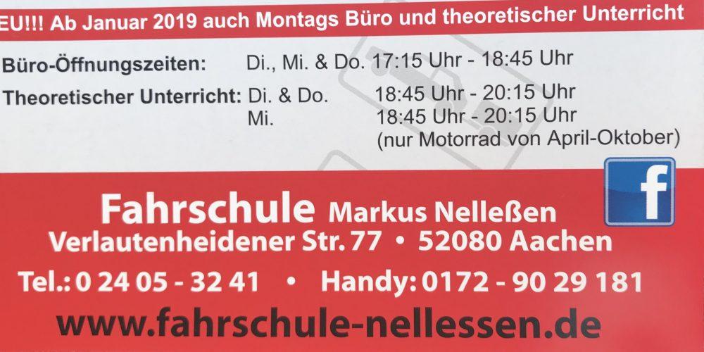 Ab Januar 2019 auch montags geöffnet und Theorie Unterricht